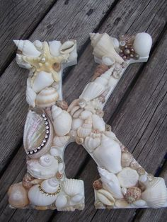 Shell Covered Letters/Initials - Beach Themed Wedding Decor, Beach Wedding Gift Idea. $60.00, via Etsy.