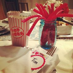 Cute idea for adult birthday party with a movie night or game night theme!  The movie theater candy in mason jars was a huge hit!