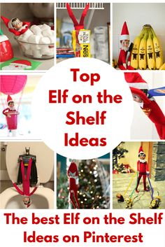The best Elf on the Shelf Ideas on Pinterest! These Elf on the Shelf Ideas totally Rule! Such a fun Christmas tradition & your will love these crazy ideas! Here are some amazing last minute ideas. #elfontheshelf #uniqueelfontheshelfideas #bestelfontheshelfideas
