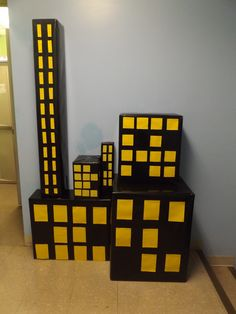 All sizes of boxes work! The more interesting sizes. Superhero Classroom, Superhero Birthday Party, Classroom Themes, Vbs Themes, Dance Themes, Yellow Paper, Black Paper, Pj Max, Vacation Bible School 2017
