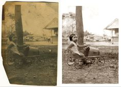 On the left is a picture taken in around 1930 of my mother, when she was probably about 4 years old in her home town of Hilongos on the coast of rural Leyte, the Philippines. The print was in quite a bad state so I am pleased about the clean-up job I did. I only discovered this picture just before my mother's 80th birthday, so it was a nice surprise for her during her 80th celebrations. I entered this in the DPNow Salon contest a while back, which had the theme of 'Timeless'.
