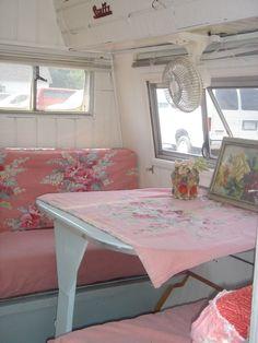 pink caravan dinette