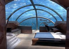 Amazing bedroom!  I have always said I would love to have my master bedroom be like the round room you enter at the Monterey Bay Aquarium...