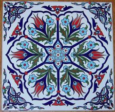 "Ottoman Iznik 6 Tulip Design 8""X8"" 20cm Turkish Ceramic Tile ..."