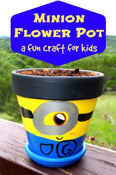 This Minion Flower Pot is a simple craft for kids to make and that will keep them busy during the long summer months.
