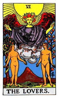 Arcanos mayores en Raider White Tarot II - Spiritual Reading español Los amantes representan, en algunas tradiciones, las relaciones y las elecciones. Su aparición indica las decisiones relacionadas con una relación existente, tentación del corazón o incluso una selección de potenciales socios para los negocios