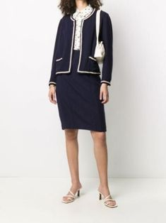 Chanel pre-owned braided trim two-piece suit - farfetch Dress Suits, Skirt Suit, Shopping Chanel, Dress For Success, Im Not Perfect, Braids, Women Wear, Dresses For Work, Blue And White