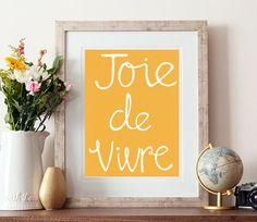 Joie de vivre french print french saying hand drawn by aspringbear, £11.00