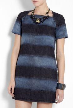 Blue Degradee Denim Stripe Shift Dress by See by Chloé