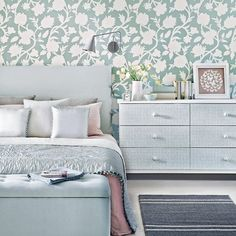 Duck egg bedroom with feature wall