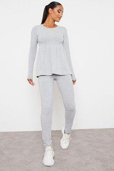 Grey Soft Rib Smock Top | Tops | I SAW IT FIRST Sat Free, Smocking, Lounge Wear, Peplum Dress, Trousers, Leggings, Grey, Swimwear, Model