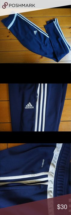 Adidas navy blue jogger pants size S Adidas joggers skinny at the leg with zippers. Size small and has drawstring adidas Pants Track Pants & Joggers