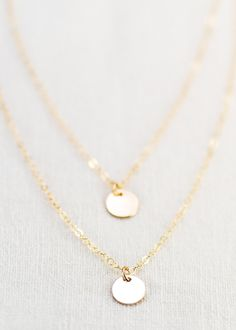 Dainty double strand 14k gold filled disc necklace, delicate gold necklace – Ke Aloha Jewelry