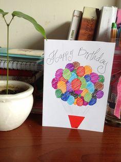 Bigger air balloon card for my little sister birthday #airballoon #birthdaycard