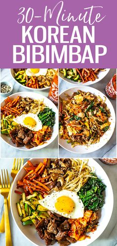 Healthy Recipes This 30 Minute Korean Bibimbap Recipe is a mixture of sesame fried vegetables, minced beef & kimchi, served with rice & a fried egg for a delicious stir fry! Korean Food Recipes, Beef Recipes, Vegetarian Recipes, Cooking Recipes, Healthy Recipes, Vegetarian Korean Food, Best Korean Food, South Korean Food, Homebrew Recipes