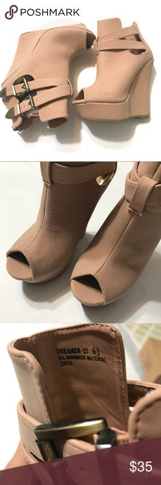 """Bamboo Women's Blush Peeptoe Wedge Booties Brand new without box; Blush beige shade; Buckle accents; Zipper closure; Wedges; Peep toe; Heel ht. 5"""". BAMBOO Shoes Wedges"""