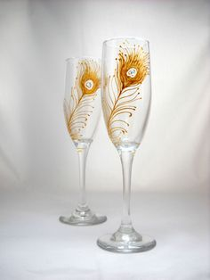 Peacock Feather Flute Glasses with Crystal Embellishment