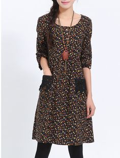 6e9ad26e89c Plus Size Print Dress Long Sleeve Women Loose Dress E199