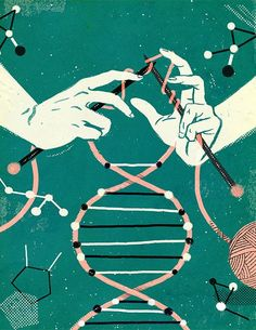 Epigenetics--between nature and nurture! The future of DNA research. Cover illustration for the McGill News. Art And Illustration, Do It Yourself Design, Plakat Design, Inspiration Art, Motivation Inspiration, Grafik Design, Art Design, Fiber Art, Knitting Patterns