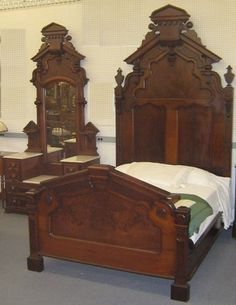 Antique Bed Eastlake Style Walnut W Burl Inlays 1800 S W