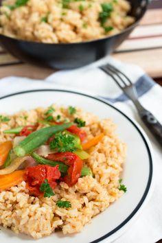Cajun Okra & Tomatoes Over Brown Rice by Parsley In My Teeth