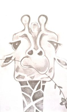 Funny Giraffe Drawing. by BunnytheDuck on Etsy, Animal Sketch / Drawing Illustration Inspiration: