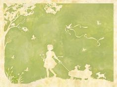 Toile Girl Pulling Wagon In Green Canvas Reproduction