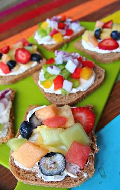 Healthy fruit and veggie toast...interested in trying some of these.