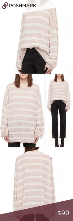 """All Saints Cassia Boat Neck Sweater   NWT All Saints Cassia Boat Neck Sweater   New with tags.  Size large. Lose yourself in comfort wearing this oversized striped sweater made from a rich-and-cozy blend featuring wool and alpaca. Slouchy fit.  So soft & comfortable! Drop shoulder.  Thin stripe is slightly raised for contrast. Color code: Baby pink/chalk 45% polyamide, 41% wool, 14% alpaca - Hand wash, dry flat Approx measurements: Pit to pit 28"""" Sleeve 26"""" Shoulder to hem 29"""" All Saints… Pink Chalk, Sweater Making, Contrast Color, Boat Neck, Pink White, Sweaters For Women, Sleeves, How To Wear"""