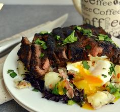Coffee Rubbed Steak and Eggs - To make low carb leave out the potatoes and use roasted cauliflower instead.
