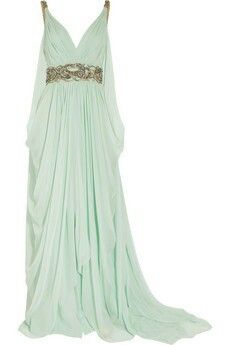 Crystal-embellished silk-chiffon gown by Marchesa. Crystal and bead embellishment adorns the shoulders and waist of this aqua silk-chiffon gown, and fluid draping creates an elegant silhouette. Green Evening Dress, Evening Dresses, Prom Dresses, Formal Dresses, Green Gown, Long Dresses, Bridesmaid Gowns, Dress Prom, Grecian Bridesmaid Dress