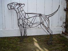 Steel Bull Terrier dog, life size sculpture by emmawalkersculpture.com