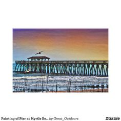 Painting of Pier at Myrtle Beach - Wrapped Canvas