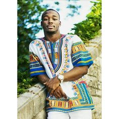 White and Blue Colorful African Dashiki Shirt Only $15