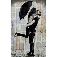 Loui Jover Art Print -  Rainy Day Young Love (£200) ❤ liked on Polyvore featuring home, home decor, wall art, wooden home decor, wooden wall art, wood home decor and wood wall art