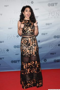 Canadian singer and songwriter Alessia Cara wearing A copper paillette gown from the Tadashi Shoji Fall 2016 Runway while attending 2016 Juno Awards.
