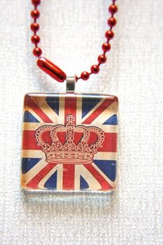 Union Jack Crown Glass Tile Jewelry Pendant by outonalimbstudio