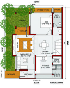 residence at veraval, gujarat – urban architectural collaborative 20x30 House Plans, 2 Bedroom House Plans, My House Plans, House Layout Plans, Modern House Plans, Small House Plans, House Layouts, House Floor Plans, North Facing House