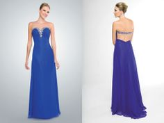 Floor-Length Blue Dress With Open Back