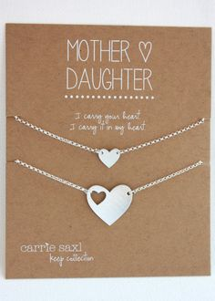 Mother and Daughter bracelet set features a hand-cut heart silhouette charm bracelet for mom and dainty heart charm bracelet for daughter. These
