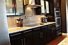 Cabinets in sasparilla, hood, an backsplash is the perfect fit!!! If you know this backsplash please post the name and where you found it!