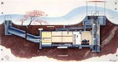 Underground home - cross section sketch for a bunker-style earth sheltered home with dual entries