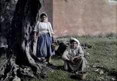 Two women with baskets used for gathering olives during harvest, Deka, Corfu; 1920's; Images by Maynard Owen Williams / Wilhelm Tobien;  Source: National Geographic Stock