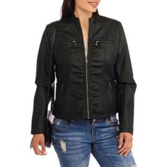 Maxwell Studio Women's Faux Leather Moto Jacket, Size: Medium, Black