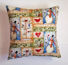 CHRISTMAS Throw Pillow Cover Snowman Patch by PersnicketyHome