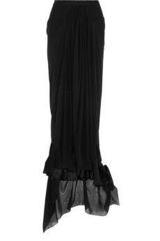 Rick Owens Asymmetric silk-chiffon maxi skirt   THE OUTNET   Pretty Little Liars
