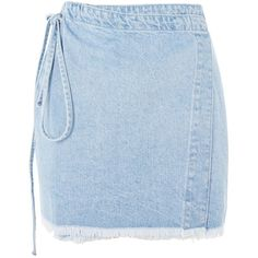 Topshop Moto Wrap Denim Skirt ($42) ❤ liked on Polyvore featuring skirts, topshop, bleach stone, knee length denim skirt, blue skirts, wrap skirt, denim skirts and blue denim skirt