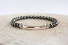 Hematite Stretch Beaded Bracelet Men Urban Bohemian Jewelry Gemstone on Etsy, £11.20