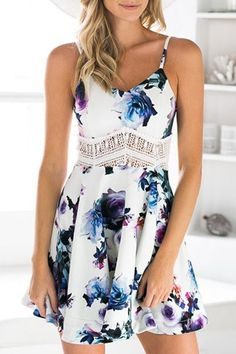 Waist Lace Splicing Floral Print Sleeveless Dress>> 10 Handpicked Look Of The Floral Print Outfits