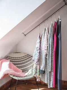 Open Closet for Angled Sloping Roofed Bedrooms Zebedee Millennial Pink Open Clo. Open Closet for Angled Sloping Roofed Bedrooms Zebedee Millennial Pink Open Closet for Angled Sloping Roofed Bedrooms Zebedee Millennial Pink Angled Ceiling Bedroom, Angled Bedroom, Slanted Ceiling Closet, Roof Storage, Closet Storage, Bedroom Storage, Storage Organization, Kallax, Open Wardrobe